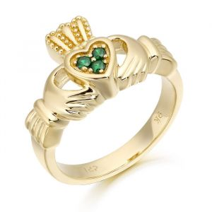 ladies-gold-claddagh-ring-with-green-cz-set-heart