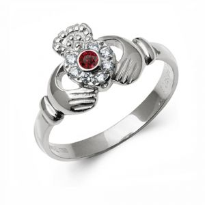 10kt-White-Gold-Diamond &-Ruby-Claddagh-Ring