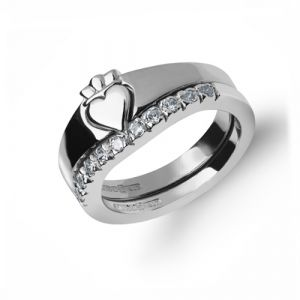 10kt-White-Gold-Diamond-set-Two-Part-Ladies-Claddagh-Ring