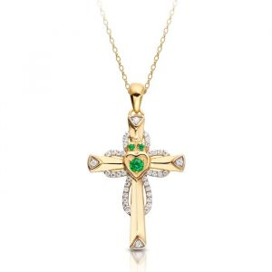 9kt-yellow-gold-claddagh-cross-and-chain