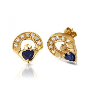 9kt-yellow-gold-sapphire-claddagh-earrings-with-cz-stones