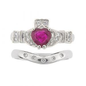 ashford-5-stone-claddagh-wedding-set-in-14-karat-white-gold-and-ruby