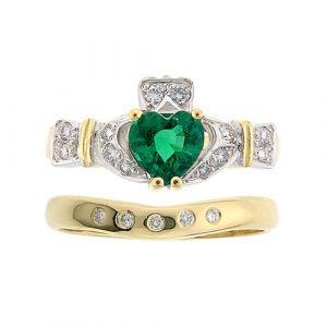 ashford-5-stone-claddagh-wedding-set-in-14-karat-yellow-gold-and-emerald