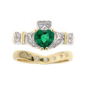 ashford-7-stone-claddagh-wedding-set-in-14-karat-yellow-gold-emerald
