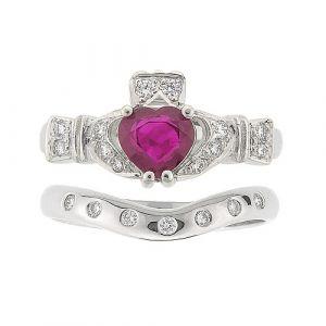 ashford-7-stone-claddagh-wedding-set-in-18-karat-white-gold-and-ruby