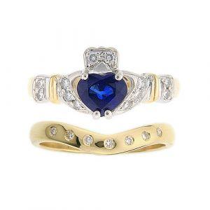 ashford-7-stone-claddagh-wedding-set-in-18-karat-yellow-gold-and-sapphire