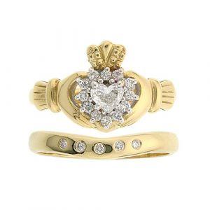 cashel-5-Stone-claddagh-wedding-set-in-14-karat-yellow-gold-and-diamond