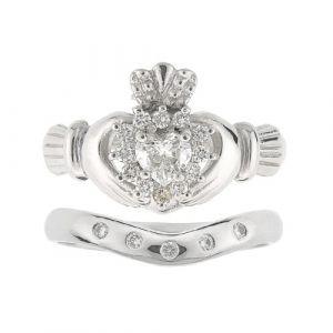 cashel-5-stone-claddagh-wedding-set-in-14kt-white-gold-and-diamond