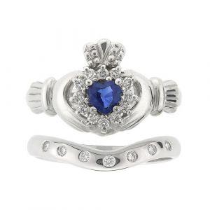 cashel-7-stone-claddagh-wedding-set-in-14-karat-white-gold-and-sapphire