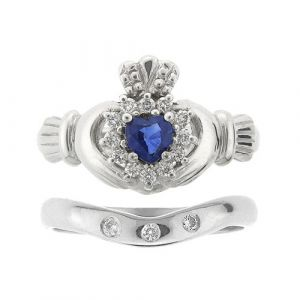 cashel-sapphire-and-white-gold-claddagh-wedding-ring-set
