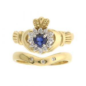 cashel-sapphire-claddagh-wedding-set-in-yellow-gold