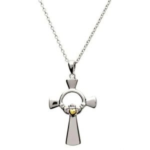 Silver-Claddagh-Celtic-Cross-with-Gold-Heart