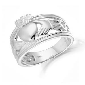 Gents-9kt-White-Gold-Wide-band-Claddagh-Ring