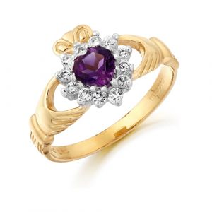 gold-cluster-claddagh-ring-with-purple-cz