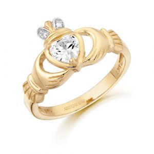 Clear CZ Claddagh Ring with CZ Crown -  9kt Yellow Gold