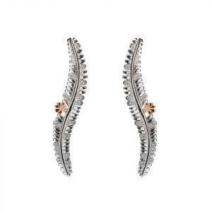 Rare Irish gold shamrock fern earrings