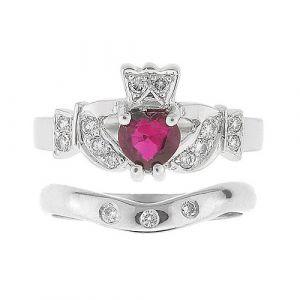 kinvara-3-stone-claddagh-wedding-set-in-14-karat-white-gold-and-ruby