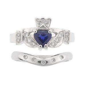kinvara-5-stone-claddagh-wedding-set-in-14-karat-white-gold-and-sapphire