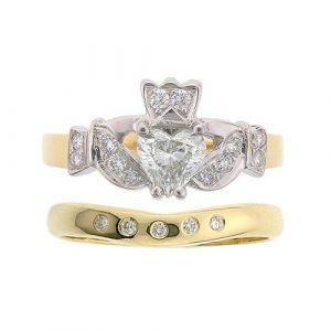 kinvara-5-stone-claddagh-wedding-set-in-14-karat-yellow-gold-and-diamond