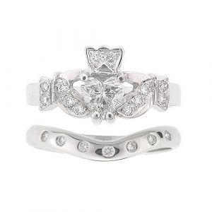 kinvara-7-stone-claddagh-wedding-set-in-14-karat-white-gold-and diamond