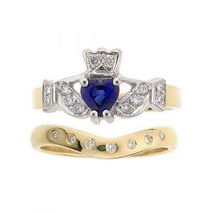 kinvara-7-stone-claddagh-wedding-set-in-14-karat-yellow-gold-and-sapphire