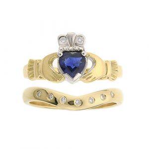 kylemore-7-stone-claddagh-wedding-set-in-14-karat-yellow-gold-and-sapphire