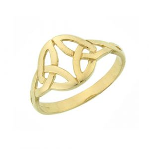 9kt Gold Ladies Celtic Double Trinity Ring