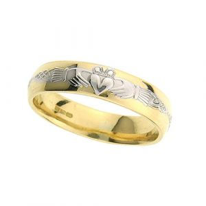 ladies-claddagh-and-celtic-wedding-ring-in-two-tone-18-karat-gold