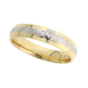 ladies-domed-celtic-scroll-wedding-ring-in-two-tone-18-karat-gold