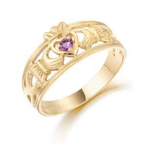 ladies-gold-claddagh-band-with-deep-purple-cz