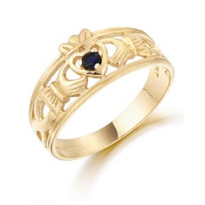 ladies-gold-claddagh-band-with-dark-blue-cz