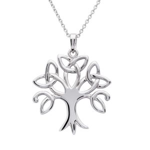 Plain Sterling Silver Tree Of Life Pendant & Chain