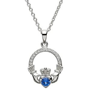 claddagh-september-birthstone-pendant-and-chain-with-swarovski-sapphire-blue-crystal-1