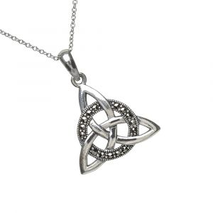 sterling-silver-trinity-knot-marcasite-pendant