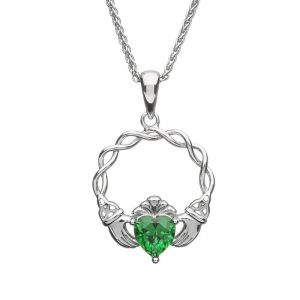 green- cubic-zirconia-claddagh-pendant-and-chain