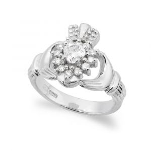 The-Cashel-Claddagh-Ring-in-14kt-White-Gold & Diamond