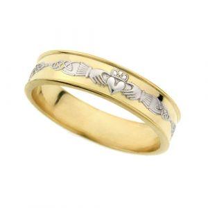 Two-Tone-18-karat-gold-Ladies-Flat-Celtic-Wedding-Ring
