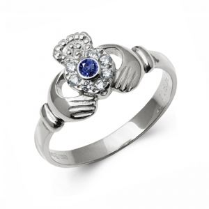 white-gold-claddagh-ring-with-diamond-and-sapphire