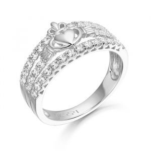 Ladies 9kt White Gold Micro Pave Claddagh Ring
