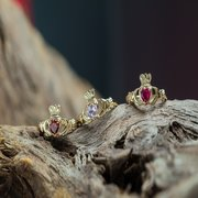 Natural Birthstone Claddagh Rings